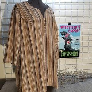 Roaman's Striped Linen Blend Top Size 28